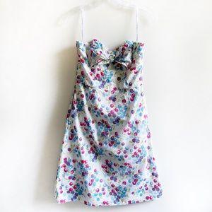 Shoshanna strapless dress cherries pink knot
